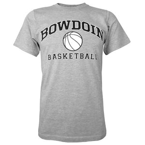 Heather gray short sleeved T-shirt with BOWDOIN arched over a basketball and the word BASKETBALL underneath.