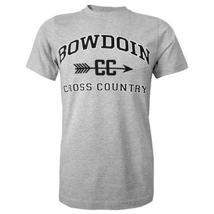 Heather gray short sleeved T-shirt with BOWDOIN arched over the letters CC pierced with an arrow and the words CROSS COUNTRY underneath.