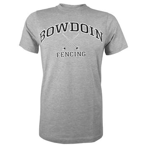 Heather gray short sleeved T-shirt with BOWDOIN arched over crossed fencing foils with the word FENCING underneath.