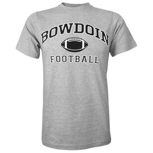 Heather gray short sleeved T-shirt with BOWDOIN arched over a football with the word FOOTBALL underneath.