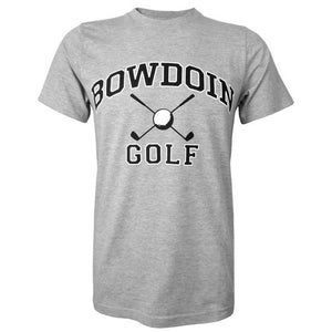 Heather gray short sleeved T-shirt with BOWDOIN arched over crossed golf sticks with a golf ball over the cross and the word GOLF underneath.