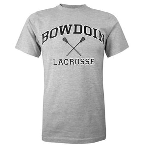 Heather gray short sleeved T-shirt with BOWDOIN arched over crossed lacrosse sticks and the word LACROSSE underneath.