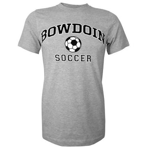 Heather gray short sleeved T-shirt with BOWDOIN arched over a soccer ball and the word SOCCER underneath.