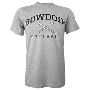 Heather gray short sleeved T-shirt with BOWDOIN arched over crossed softball bats and the word SOFTBALL underneath.