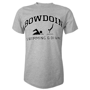 Heather gray short sleeved T-shirt with BOWDOIN arched over an icon of a swimmer and an icon of a diver with the words SWIMMING & DIVING underneath.
