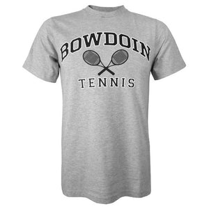 Heather gray short sleeved T-shirt with BOWDOIN arched over crossed tennis racquets and the word TENNIS underneath.