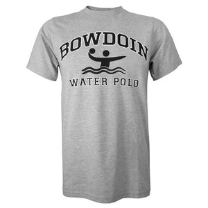Heather gray short sleeved T-shirt with BOWDOIN arched over an icon of a water polo player and the words WATER POLO underneath.