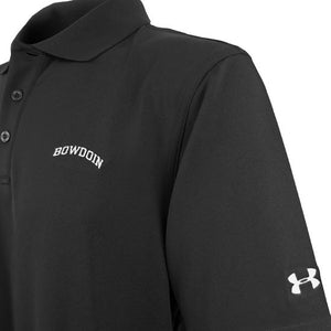 Closeup of black polo shirt showing white arched BOWDOIN embroidery on chest and white UA logo on left sleeve.