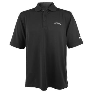 Black short-sleeved polo shirt with arched BOWDOIN embroidery on left chest.