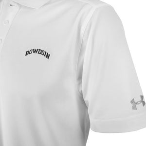 Closeup of white polo shirt showing black arched BOWDOIN embroidery on chest and silver UA logo on left sleeve.