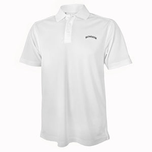 White short-sleeved polo shirt with arched BOWDOIN embroidery on left chest.
