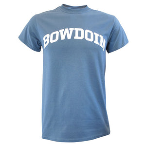 Short-sleeved lake blue T-shirt with white arched BOWDOIN imprint on chest.