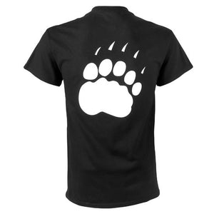 The back of a black short-sleeved T-shirt with a large white polar bear paw imprint.