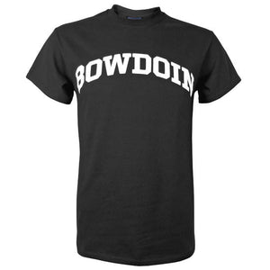 Short-sleeved black T-shirt with white arched BOWDOIN imprint on chest.