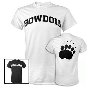 Picture of two different Bowdoin T-shirts, one black, one white. There is also a picture of the back of the white shirt, showing a large black paw print.