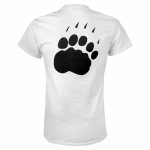 The back of a white short-sleeved T-shirt with a large black polar bear paw imprint.