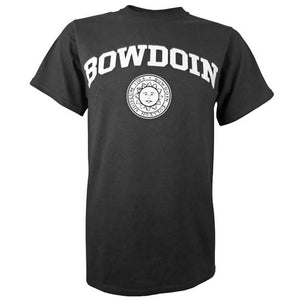 Black short-sleeved T-shirt with a white imprint of the word BOWDOIN arched over the official Bowdoin College sun seal.