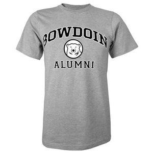Short-sleeved Oxford gray T-shirt with BOWDOIN arched over a mascot medallion over ALUMNI. The text is black with a white stroke outline.