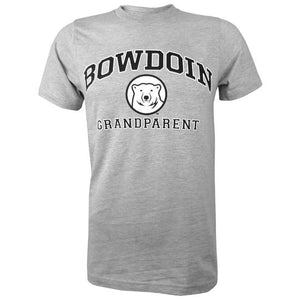 Short-sleeved Oxford gray T-shirt with BOWDOIN arched over a mascot medallion over GRANDPARENT. The text is black with a white stroke outline.