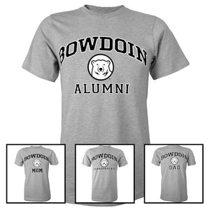 Montage of 4 Bowdoin family tees.
