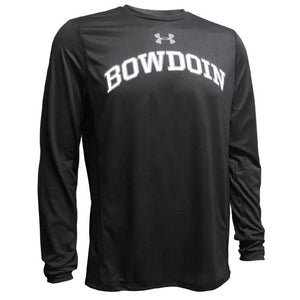 Black long-sleeved tee with arched BOWDOIN on chest in white with gray outline. Gray UA logo over the BOWDOIN imprint.