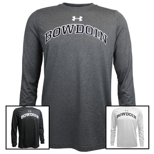 Montage of 3 colors of long-sleeved Bowdoin UA tees.
