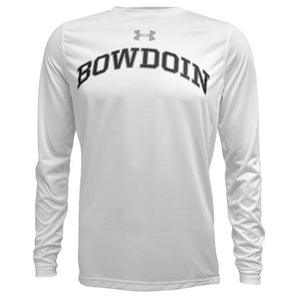 White long-sleeved tee with arched BOWDOIN on chest in black with gray outline. Gray UA logo over the BOWDOIN imprint.