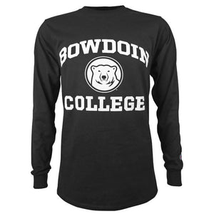 Black long-sleeved T-shirt with white imprint on chest of BOWDOIN arched over a polar bear mascot medallion over the word COLLEGE.