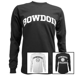 Photo of 3 different Bowdoin long-sleeved tees from Champion.
