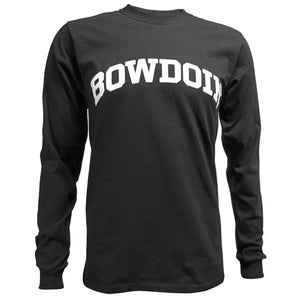 Black long-sleeved T-shirt with arched BOWDOIN imprint on the chest in white.
