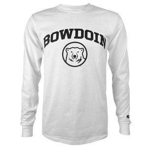 White long-sleeved T-shirt with black imprint on chest of BOWDOIN arched over a polar bear mascot medallion.