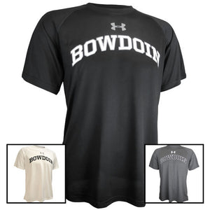 Montage of Under Armour short-sleeved workout T-shirts with BOWDOIN imprinted on the chest. 3 colors are shown: black, white, and gray.