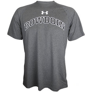 Carbon heather gray short-sleeved workout T-shirt with an arched BOWDOIN chest imprint in black with a white stroke outline. The Under Armour UA logo is imprinted just under the neckline over the WD in BOWDOIN in white.