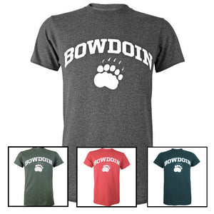 Montage of 4 Bowdoin T-shirts in charcoal heather, pine heather, red heather, and peacock heather.