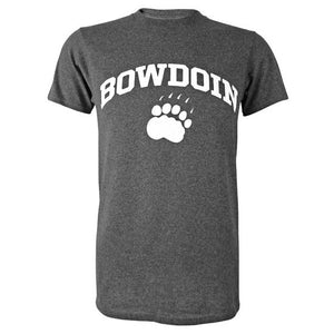 Short-sleeved T-shirt with white chest imprint of the word BOWDOIN arched over a polar bear paw print. The shirt is a charcoal heather color.