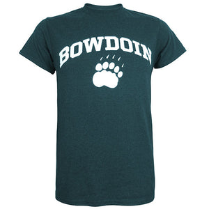 Short-sleeved T-shirt with white chest imprint of the word BOWDOIN arched over a polar bear paw print. The shirt is a dark peacock teal heather color.
