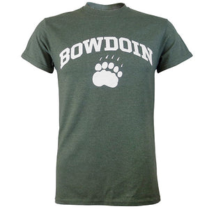 Short-sleeved T-shirt with white chest imprint of the word BOWDOIN arched over a polar bear paw print. The shirt is a pine green heather color.