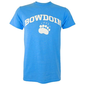 Short-sleeved T-shirt with white chest imprint of the word BOWDOIN arched over a polar bear paw print. The shirt is a bright, light sapphire blue heather color.