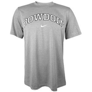 Heathered silver gray short-sleeved T-shirt with arched BOWDOIN on chest in white with black outline over white Nike Swoosh.