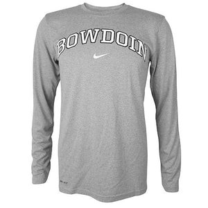 Long-sleeved performance tee with arched BOWDOIN chest imprint in white with black outline and white NIKE swoosh below.