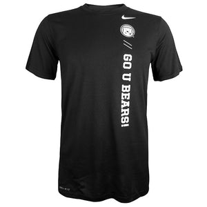 Black short-sleeved tee with white imprint starting at left shoulder and proceeding vertically down the front of the shirt: Nike Swoosh, polar bear medallion, 2 forward slashes, and GO U BEARS!
