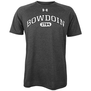 Carbon heather short-sleeved tee with white arched BOWDOIN with black outline over white oval with black 1794 inside it. Small white UA logo on center chest just under collar.