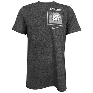 A short-sleeved T-shirt in charcoal gray heather with a square imprint over the left chest. At the top is the word BOWDOIN in white as the top bar of a white box, and inside is a pixelated gradient graphic in lighter gray. Overlaid over the gradient is a round medallion imprint of the Bowdoin Polar Bear mascot's head in white on a gray field. Under the square imprint is the Nike Swoosh in light gray.