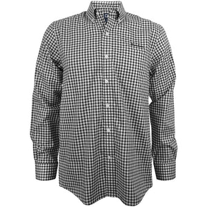 Collared button-up long-sleeved dress shirt in a black and white small gingham check, with buttons on the collar and a pocket on the left chest. The word BOWDOIN is embroidered in black over the left chest pocket.