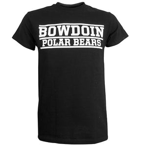 Black short-sleeved T-shirt with large imprint of Bowdoin Polar Bears in white with white lines over BOWDOIN and POLAR BEARS and one line below POLAR BEARS.