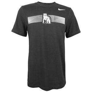 Blackish-gray short-sleeved tee with white imprint on chest of a rectangle made of diagonal lines interrupted by a Bowdoin polar bear mascot. Small white Nike Swoosh on left shoulder.