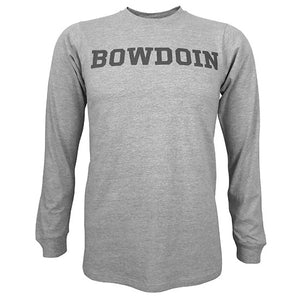 Heathered gray long-sleeved T-shirt with dark gray BOWDOIN imprint on chest.