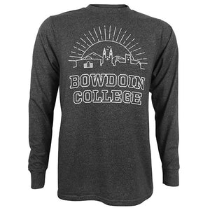 Marled long-sleeved tee with white chest imprint of the sun rising behind iconic Bowdoin buildings (art museum, chapel, Hubbard hall) with the text BOWDOIN COLLEGE outlined below.
