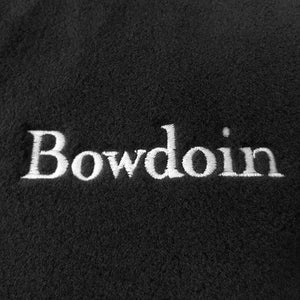 Closeup showing high-quality embroidery of the BOWDOIN wordmark.