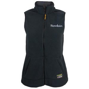 Women's black fleece vest with white BOWDOIN wordmark embroidered on left chest and a full-color L.L.Bean logo patch on the left front pocket.